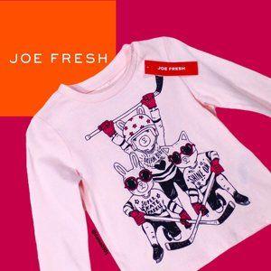 "NWT Joe Fresh Pink ""Freshster Hockey"" Graphic Top"